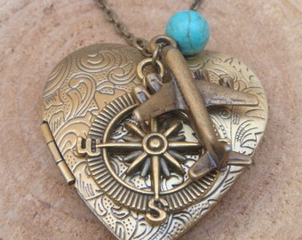 Antique Brass Plane Compass Turquoise Locket Necklace Victorian Jewelry Gift Vintage Style