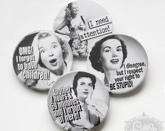 "cute as a button ""Retro Women I"" button/badges Set"