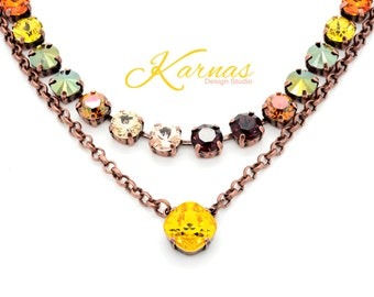 SUNFLOWER 12mm Cushion Cut Crystal Necklace Made With Swarovski Elements *Pick Your Metal *Karnas Design Studio *Free Shipping*