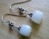 White opal earrings Gemstone earrings Peruvian opal jewelry Sterling silver earrings White earrings October Birthstone Cube earrings
