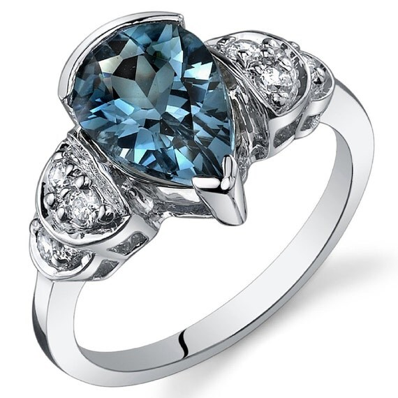 Items similar to Tear Drop 2 00 carats London Blue Topaz Solitaire Engagement