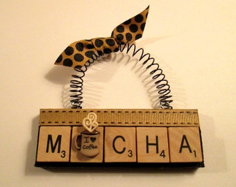 Mocha Scrabble Tile Ornament
