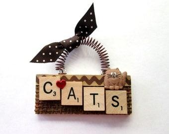 Love Cats Scrabble Tile Ornament