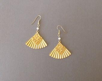Vintage Fan dangle earrings with rhinestones