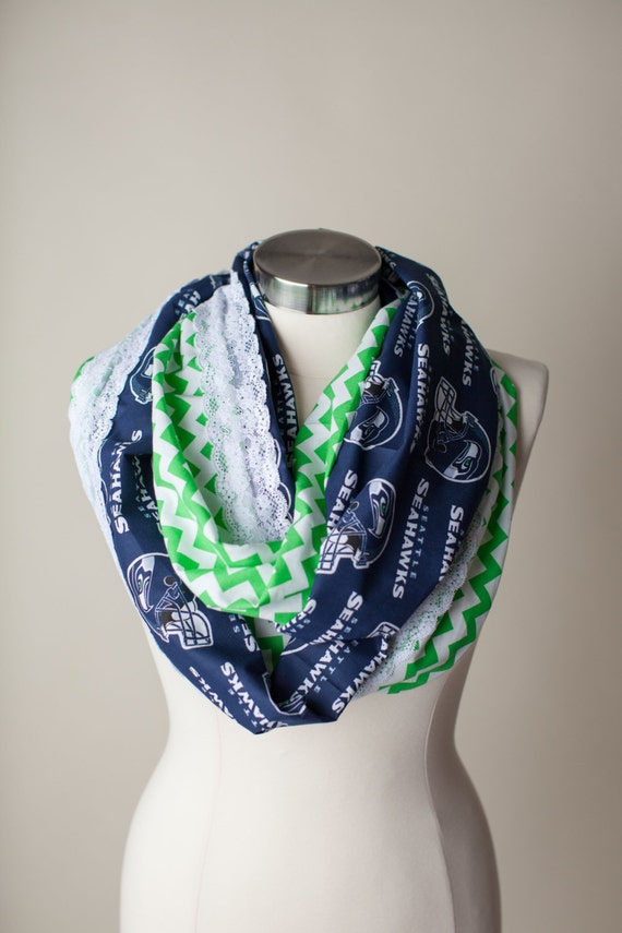 seattle seahawks nfl infinity scarf by thriftygirldesign