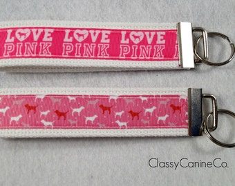 LOVE PINK or DOGS Key Fob Wristlet Key Chain