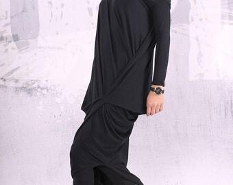 Black dress/ loose maxi dress, plus size dress, oversize tunic dress, long tunic dress,  - UM-CL004-VL