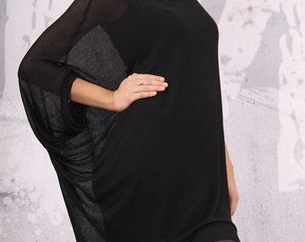 Knit tunic, cotton top, asymmetric black tunic, knit cotton top, loose tunic, plus size top, loose top, oversize top, urbanmood -UM-KC003-CO