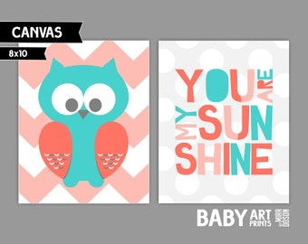 Modern Nursery canvas art, Set of 2 8x10. Owl, You are my sunshine ( S810183 ) ( COLCCPLAADG )