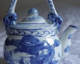 Chinese porcelain white blue dragon teapot kettle
