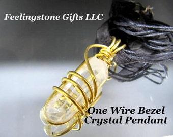 Wire Wrapped Crystal Pendant Gemstone, Crystal Stone Pendant, Brass, Chakra, Reiki, Handmade, Yoga