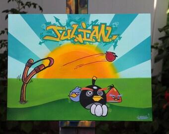 Custom Name Graffiti Angry Birds Canvas
