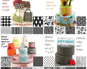 6 Impression mat, Texture sheet, Embossing mat FOR CUPCAKES, SUGARCRAFT, clay, resin etc