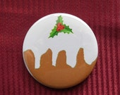 Christmas pudding 58mm button badge
