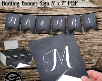 "Instant Download- Printable DIY Chalkboard Wedding Bunting Banner 5"" x 7"" PDF"