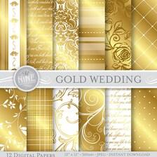 GOLD Hochzeit digitale Papier Muster Drucke, Instant Download, 12