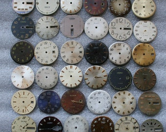 Set of 36 Vintage Soviet  Watch Faces , steampunk , steampunk parts