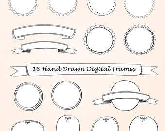 Hand Drawn Digital Frames, Doodle Round Frames,  Clipart, Instant Download, Personal and Commercial Use