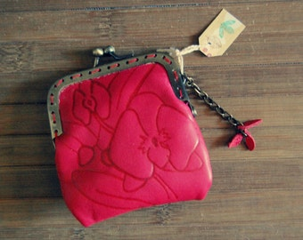 Purse red leather orchid