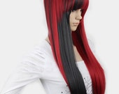 Straight long black and red wig for Christmas.  Synthetic wig -high quality wig.  ready to ship.