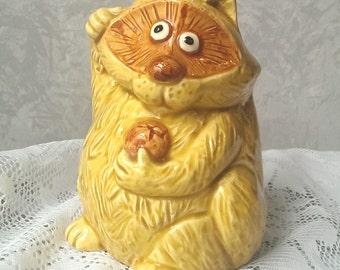 Vintage Yellow Ceramic Raccoon Planter