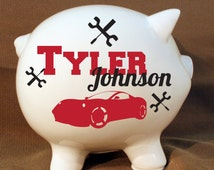 """8"""" Car Piggy Bank - Custom Tools and Car Bank, Extra Large Piggy Bank"""