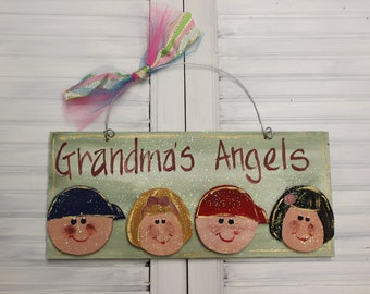 Grandma's Angels Hand Painted Wood Sign