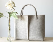Elegant and Casual natural beige felt bag from Italy. Tote bag, Felt bag, Wool felt bag, Felted tote bag, bag for Women