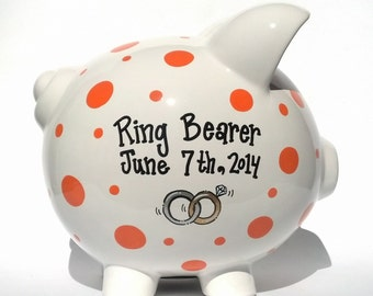 """Ring Bearer Personalized Piggy Bank - Ceramic - Custom Hand-painted and Personalized - Large Size (8"""" X 7.5"""" X 7"""")"""