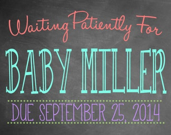 Chalkboard Pregnancy Announcement Photo Prop | Size: 11x14 | *Digital File* | by MMasonDesigns