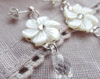 Wedding flower mother of Pearl and Swarovski crystal earrings