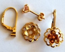 Champagne Gold Earring Jacket Set Includes Champagne Cubic Zirconia Posts Gold Flower Style Earring Jacket & Earring Convertible