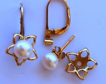 Pearl Earring Jacket Set Includes Pearl Posts Silver Star Style Earring Jacket and Earring Convertible