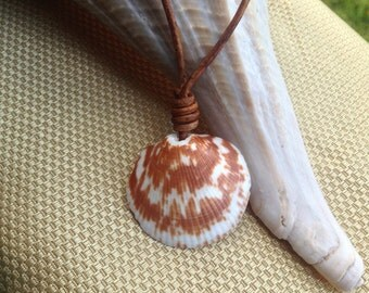 Seashell leather necklace