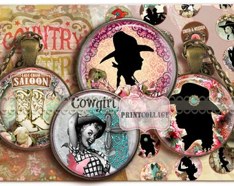 Western Cowgirl Digital Collage Sheet Printable images 1.5 inch 18 mm 14 mm 1 inch circle Instant download bottle caps Cabochon images C105
