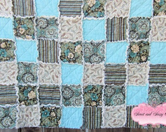 Aqua Floral Rag Quilt, Crib Size, baby Rag Quilt, Ready to Ship, International Shipping