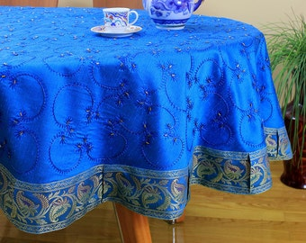 "Hand Embroidered Round Tablecloth (Ocean Blue, 85"" Round)"