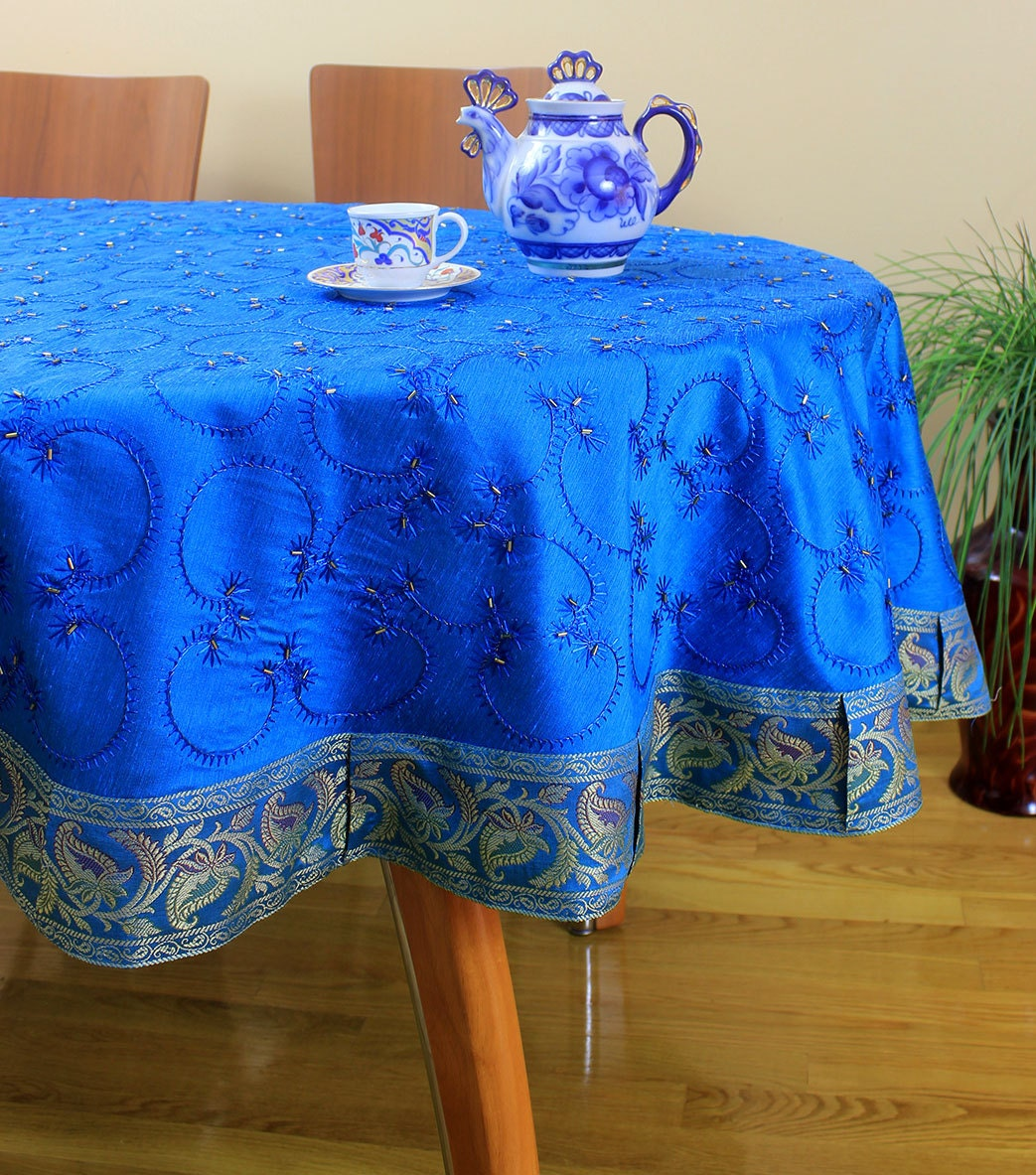 Hand embroidered round tablecloth ocean blue 85 round for 85 inch tablecloths