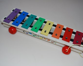 Fisher Price Xylophone Pull Toy 1978 Wooden #870