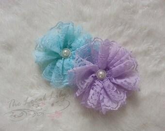 Purple/Lavender or Aqua/Blue Lace Clip-Lace Hair Clip-Spring Hair Clip-Flower Hair Clip-Lace Clip
