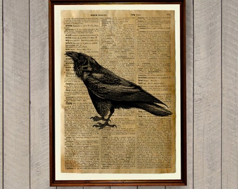 Bird illustration Raven print Dictionary page Crow poster WA61