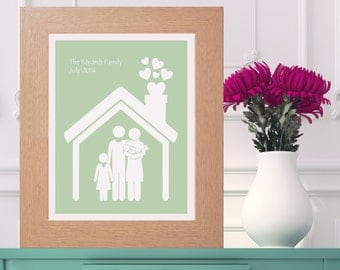 Framed Personalised Family House Print  - New House Gift - New Baby Present - Housewarming - Customised Artwork