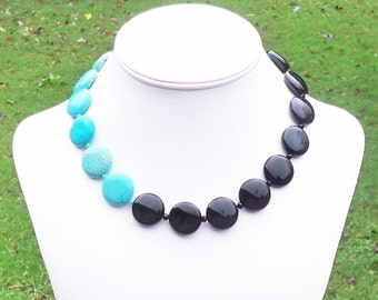 Chunky Statement Necklace Black and Turquoise Necklace Black and Aqua Necklace Turquoise Statement Necklace 20mm Turquoise and Black Onyx