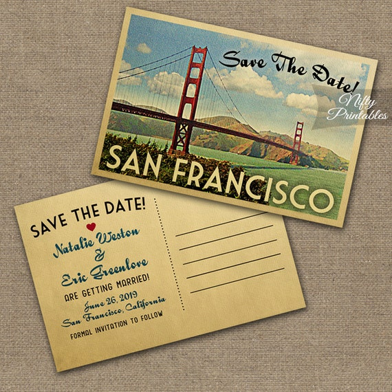 San Francisco Save The Date Postcard Vintage Travel San