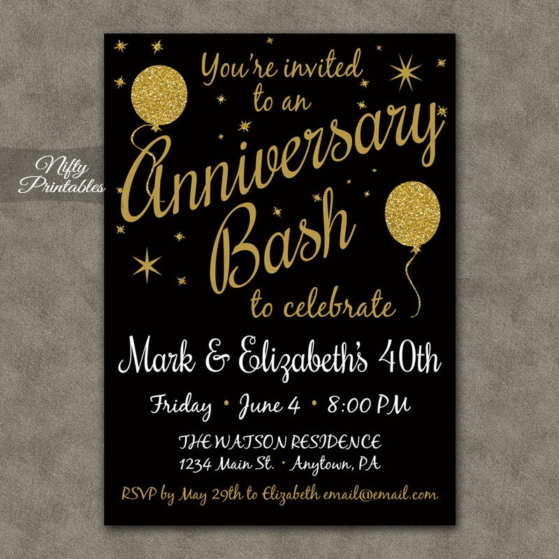 40th Anniversary Invitations Printable Black Gold 40th