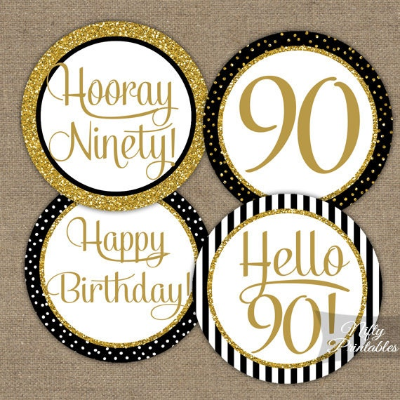 90th birthday cupcake toppers black gold 90 years bday for 90th birthday decoration