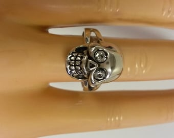 Size 8 Estate 925 Sterling Silver Cz Diamond Eye Willy Skull Ring