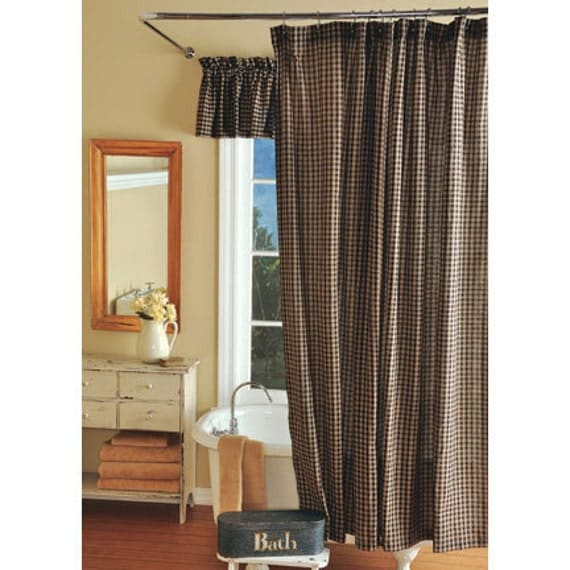 Country primitive black plaid homespun shower curtain rustic cottage