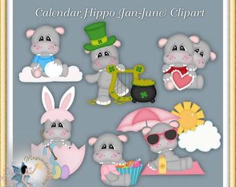Calendar Hippo Clipart (January-June)