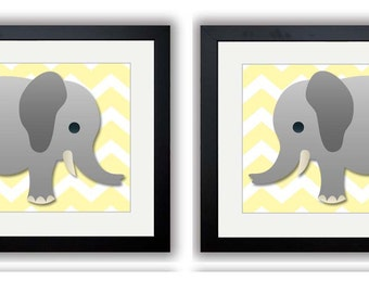 INSTANT DOWNLOAD Yellow Chevron Grey Elephant Nursery Art Print Set of 2 Elephants Child Art Prints Boy Kids Room Wall Decor Baby Printable